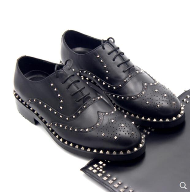 Runway Autumn and winter oxford shoes for men Bullock rivets handmade cattle production of men's shoes zapatos hombre vestir alganesh tola gemechu distance module on beef cattle production and management