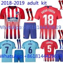 547e48a526f38 Libre parche mejor calidad Atleticoed Madrided adulto kit + calcetín corto  jersey de fútbol 18 19 traje de hombre + calcetín hog.