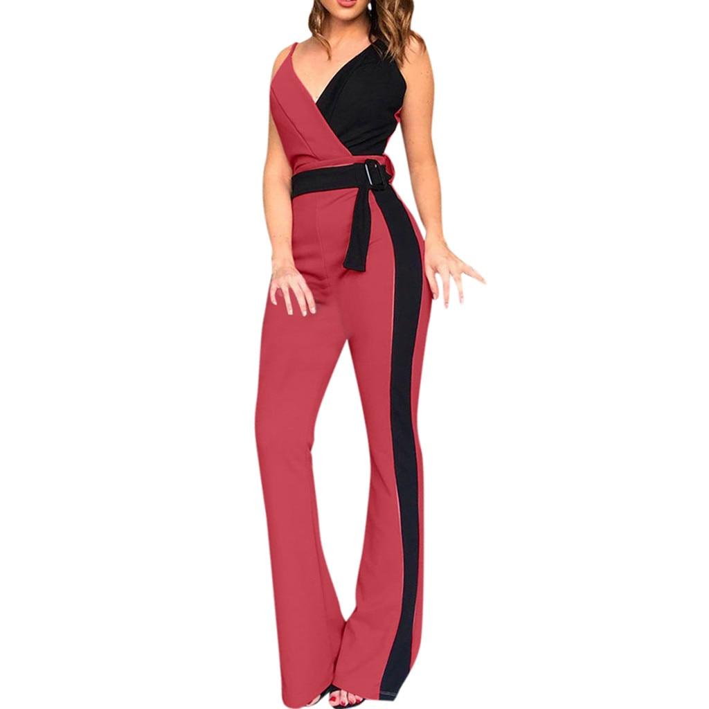 Womail Sexy Jumpsuits For Women 2019 Stripe Printing Clubwear Wide Leg Jumpsuit Women Summer