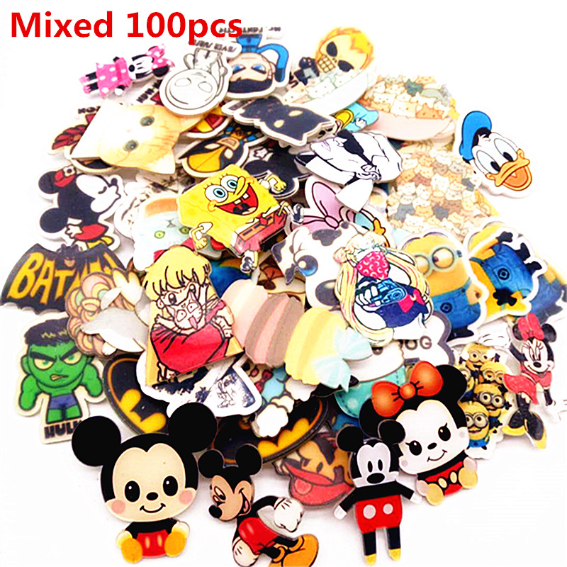 Free Shipping Mixed 100 Pcs Lovely Styles Cartoon Acrylic Brooch Clothes Backpack Accessories Badges Decoration Pin Brooches