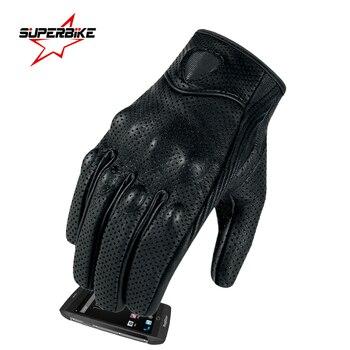 Găng tay xe máy màn hình cảm ứng da dê da bất genuine đi xe đạp tất cả các mùa giải moto glove men đua xe máy guantes luvas
