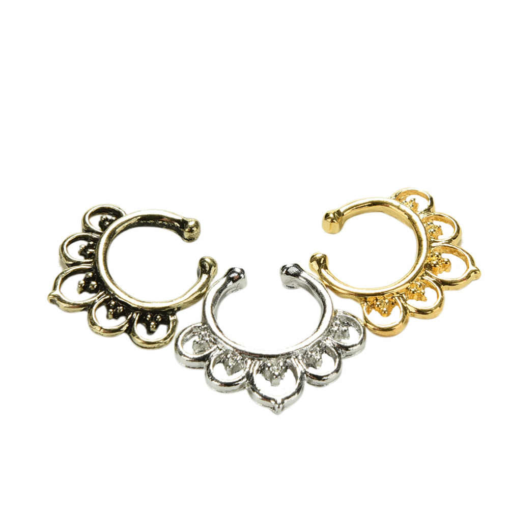 Moda fresca de clip para la nariz joyería de la variedad falso Anillo para el tabique nasal de cristal de imitación oro Piercing de nariz