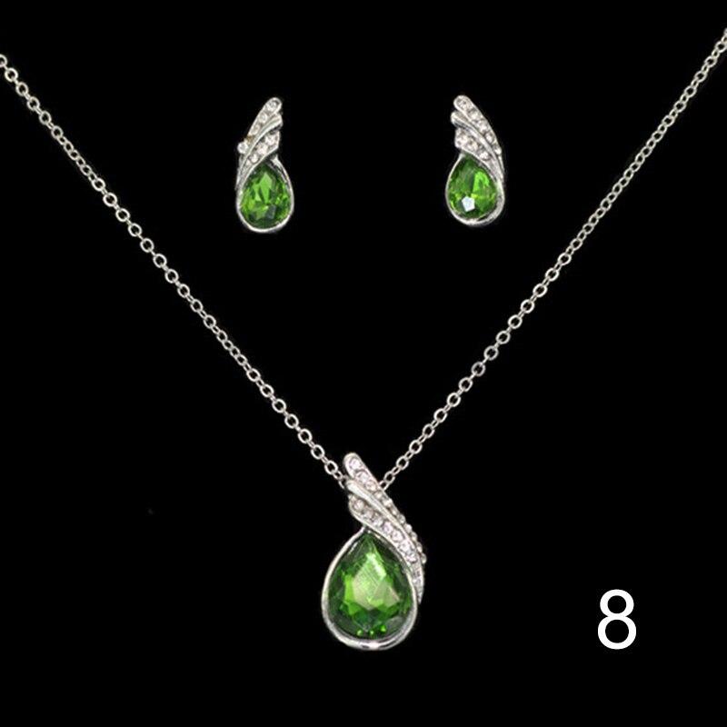 Fashion Wings Waterdrop Studs Earrings+Pendant Necklace Rhinestone Jewelry Set For Women Gifts CX17