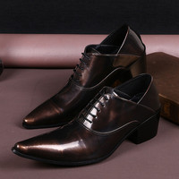 Sapatos Masculino Men Shoes Luxury Brand Genuine Leather Wedding Shoes Pointed Toe Dress Shoes High Heel