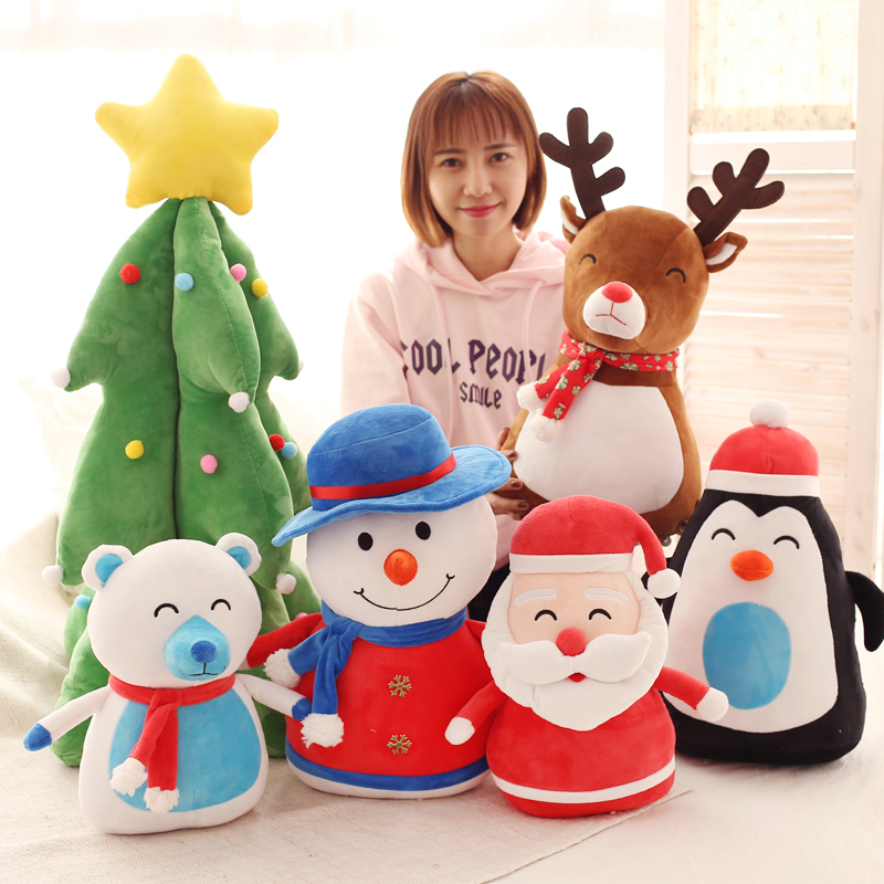 1pc 43cm creative sweet Santa Claus Snowman penguin elk polar bear Christmas Tree plush doll cushion novelty stuffed toy gift