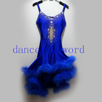 New style latin dance costume sexy Feather spandex latin dance competition dress for women child latin dance dresses S 4XL