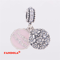 Fits Pandora Charms Bracelet 925 Sterling Silver Beads Pink Enamel Sweet Mother Dangle Charm for Women DIY Jewelry Making FL027