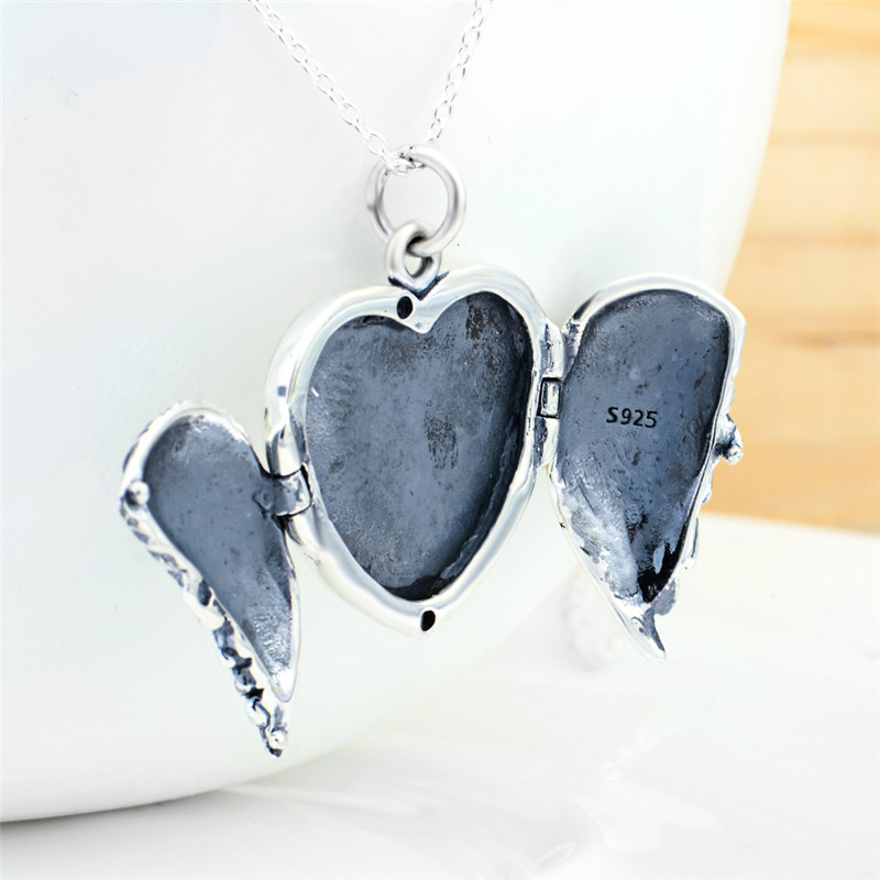 100 real 925 sterling silver heart locket photo frame pendants 100 real 925 sterling silver heart locket photo frame pendants necklaces antique silver angel wing necklace for women gnx0708 in pendant necklaces from mozeypictures Gallery