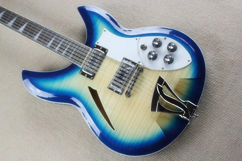 Bleu et rouge cerise ricken 360 semi hollow body 12 cordes jazz guitare électrique ricken guitare