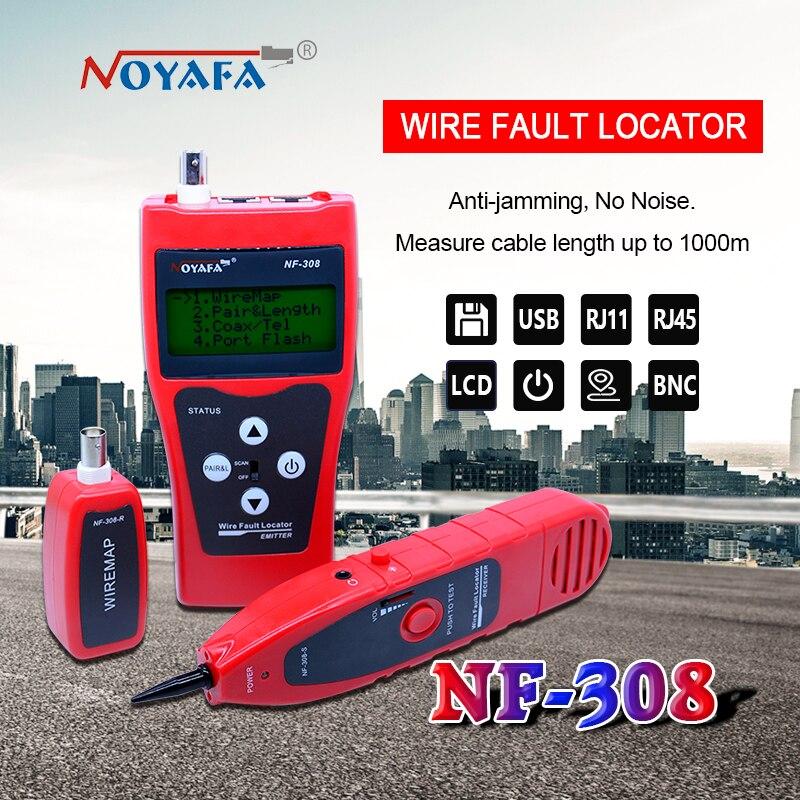 Cabo De Monitoramento De Rede Testador Lcd NF-308 Fio Localizador De Falhas Lan Rede Coacial Bnc Usb Rj45 Rj11 Cor Vermelha Nf_308