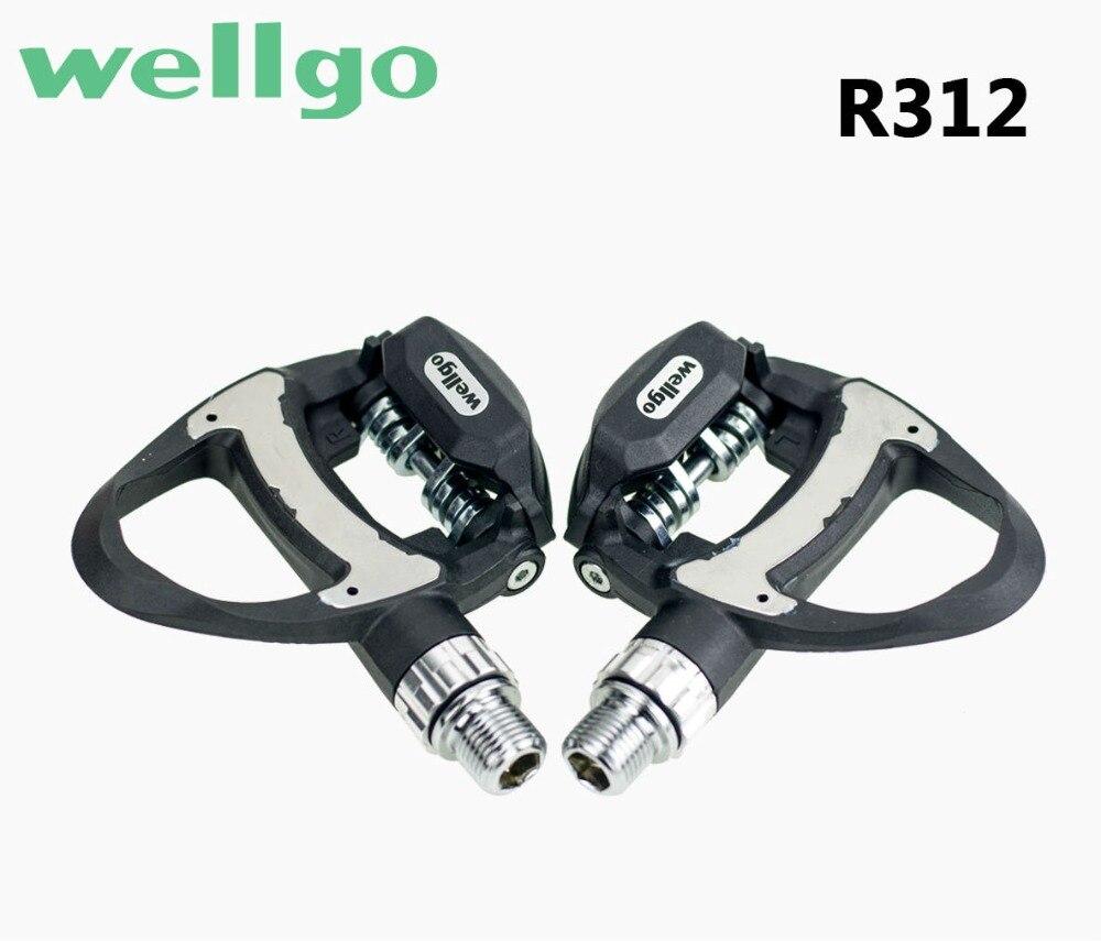 Nouveau 2019 Wellgo 249g pédales de verrouillage de vélo de route en carbone Ultra-léger avec 3 roulements comprennent deux paires de crampons pièces de vélo de route