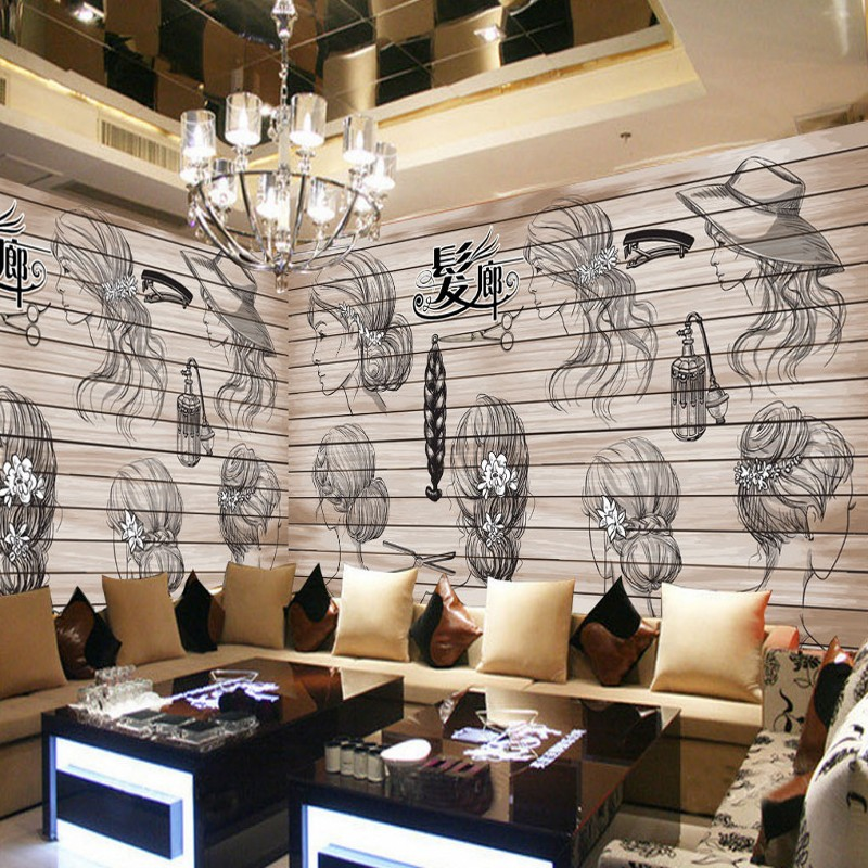 photo wallpaper 3D Hair salon barber hair shop hair design background wall mural custom high quality wallpaper