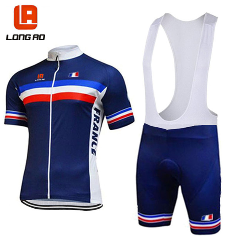 LONG AO France cycling team blue mens short sleeve jersey sets summer racing clothing Pro Cycling Team clothes
