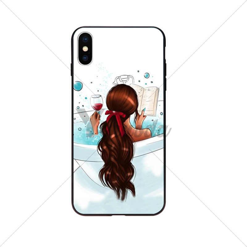 Yinuoda البني الشعر أمي فتاة الملكة عالية الكعب مخصص صور لينة جراب هاتف ل أبل فون 8 7 6 6S زائد X XS ماكس 5 5S SE XR