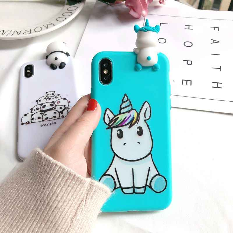 Чехол для iPhone 7 iPhone XS Max, чехол Etui 3D панда единорог, силиконовый чехол для Funda iPhone X XR XS 6 S 6 7 8 Plus 5 5S se, чехол