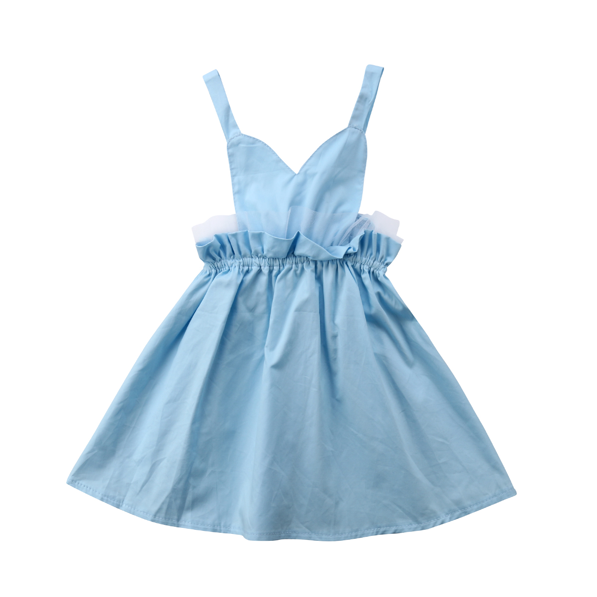 Pudcoco Kids Girl Princess Strap Sleeveless V-Neck Blue Braces With Lace Dress 1-5 Years Helen115