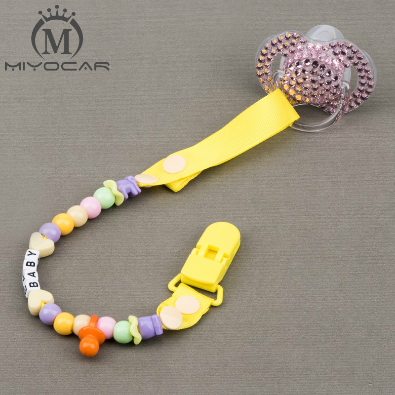 MIYOCAR Personalised -Any name Hand made funny yellow white beads banana dummy clip dummy holder pacifier clips soother chain