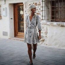 Women Autumn Short Casual Elegant Dress Print Plung Neck Wrap Bohemian Beach Vacation Flared
