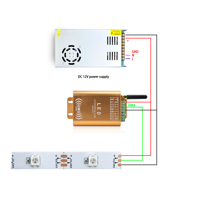2048 Pixel Wifi SPI controller LED Digital Addressable Music Controller Strip Light Controller With Micphone - 6