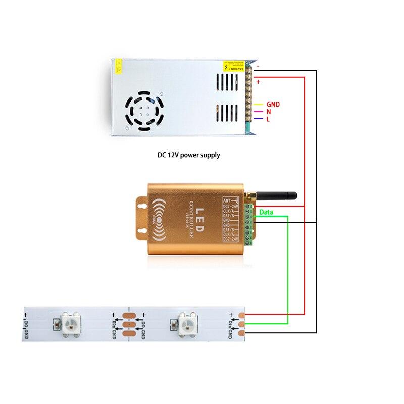2048 pixel wifi spi controlador led digital endereçável controlador de música tira luz controlador com micphone - 6