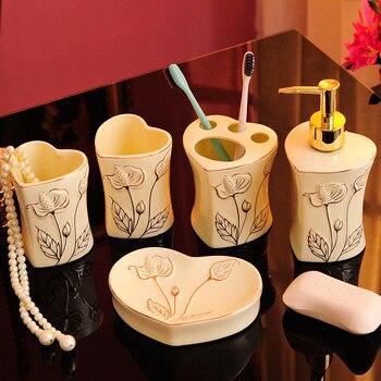 European ceramic mouth mug couple toothbrush cup set high-grade household bathroom wash wedding supplies LO726703