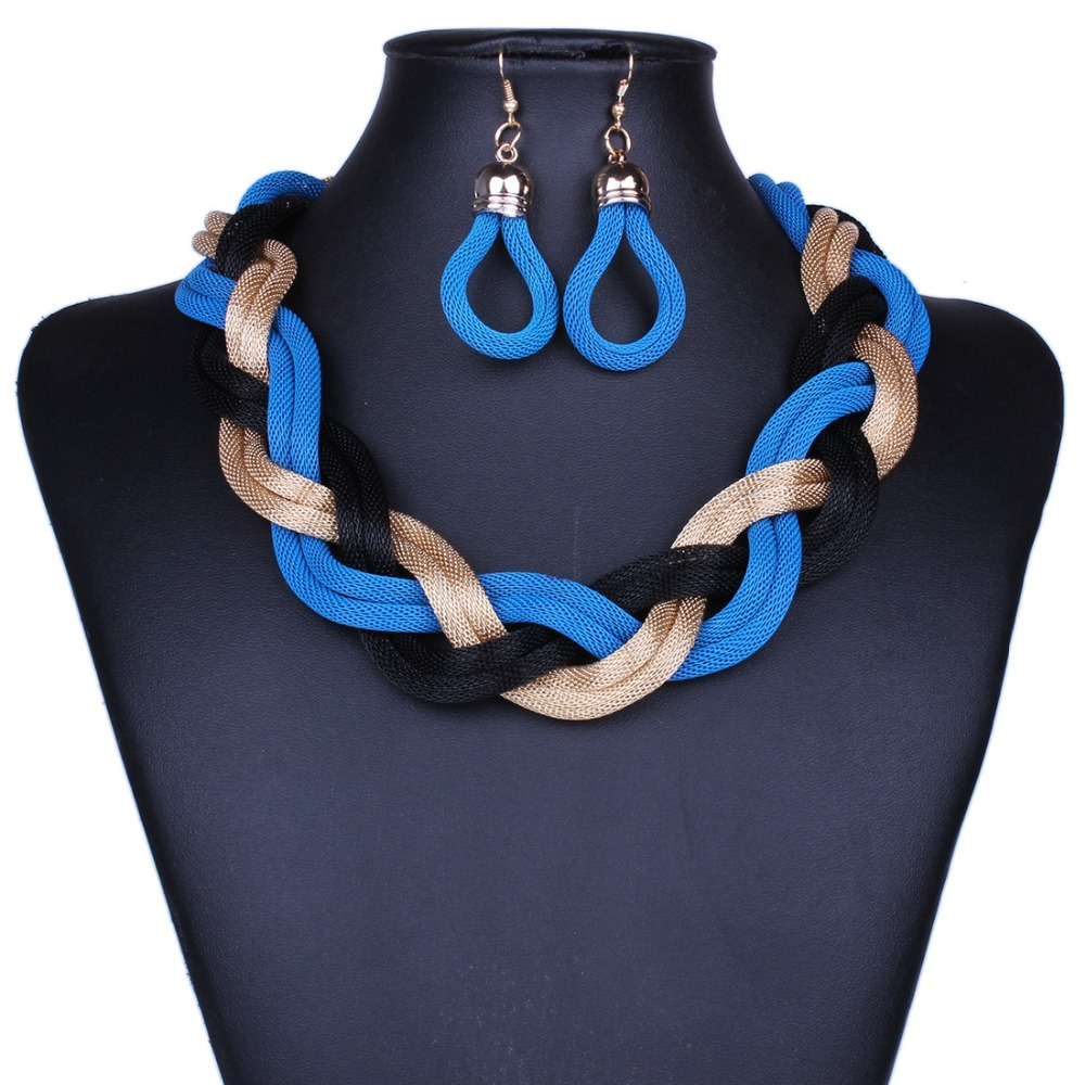 new Hot Sale Fashion brand jewelry Bohemian Punk style  Metal braid Twist Chain Necklaces for women Free Shipping
