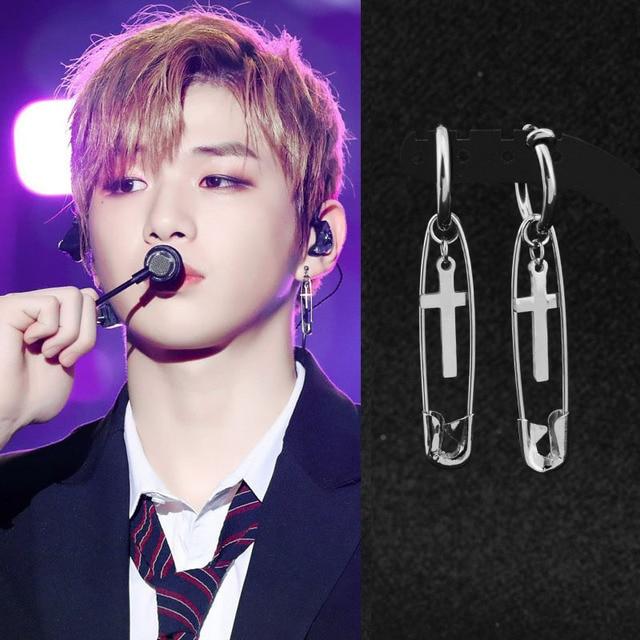 kang daniel Stainless Steel Cross Pin Pendant Stud Earring 1