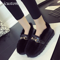 2016 Winter New Brand Women Fur Flats Fashion Ladies Slip On Warm Loafer Shoes moccasin Z556 zapatos mujer