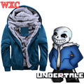 Game Undertale Sans Papyrus Hoodies  Jacket Hooded Thick Coat Winter Warm Cosplay Costume Solid Color Sweatershirt WXC