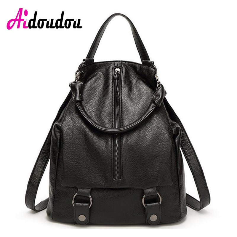 AIDOUDOU BRAND 2017 Luxury Women Backpack Black Split Leather school girls Bag Student College Campus Bags