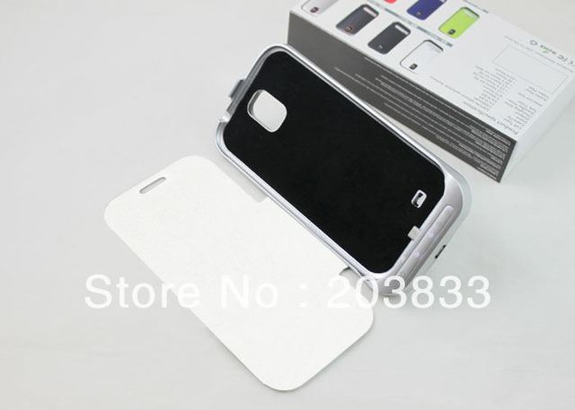 High Quality 3200mah External Backup Battery Charger Case for Samsung I9500 Galaxy S4 with Flap black white Free Shipping