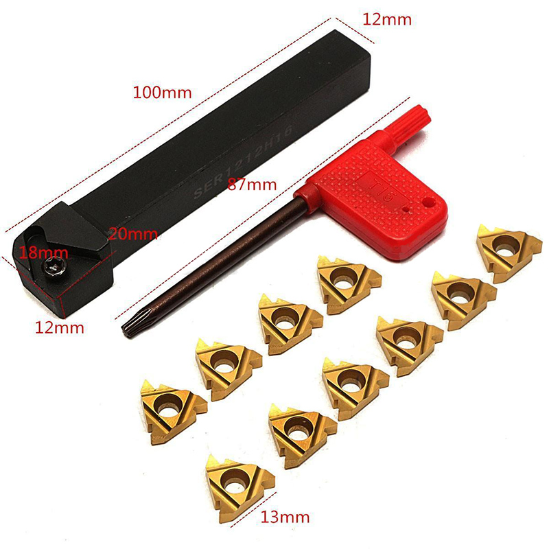 1Pc SER1212H16 CNC Tool Holder Boring Bar Holder +10Pcs 16ER AG60 Turning Inserts with Wrench for Lathe Turning Tool Set ser1212h16 lathe turning tool holder 10pcs 16er ag60 carbide inserts with t15 100mm for semi finishing finishing