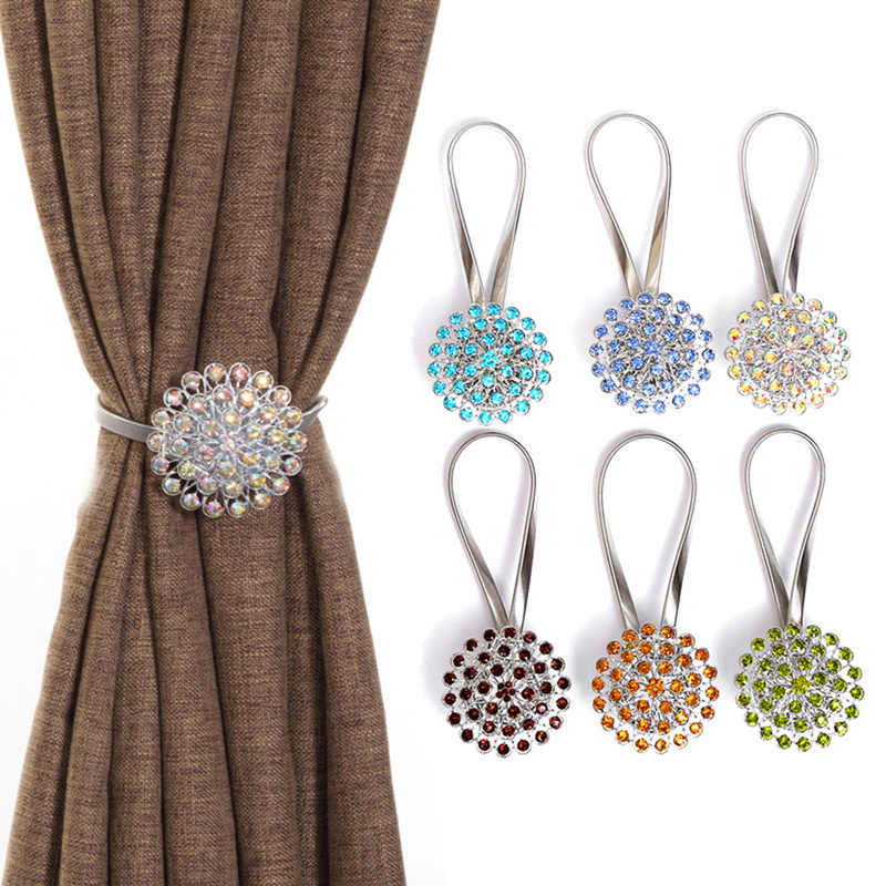 Crystal Ball Bling Magnetic Curtain Tiebacks Tie Backs Holdbacks Buckle Clips Peacock Style Curtain Holder Decoration Accessory