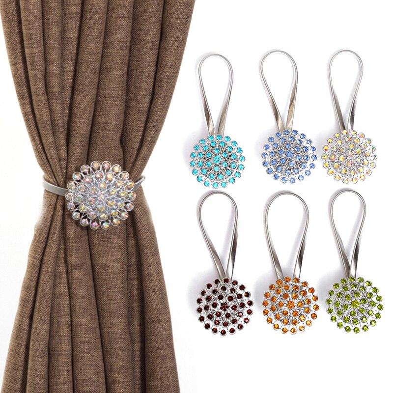 crystal ball bling magnetic curtain tiebacks tie backs holdbacks buckle clips peacock style curtain holder decoration accessory