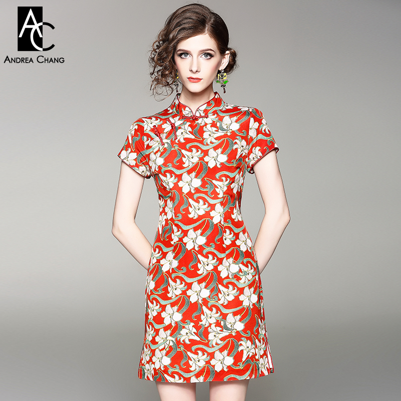 spring summer woman dress green leaf white floral pattern red buttons dress chi pao cheongsam chinese style slim XXL silk dress