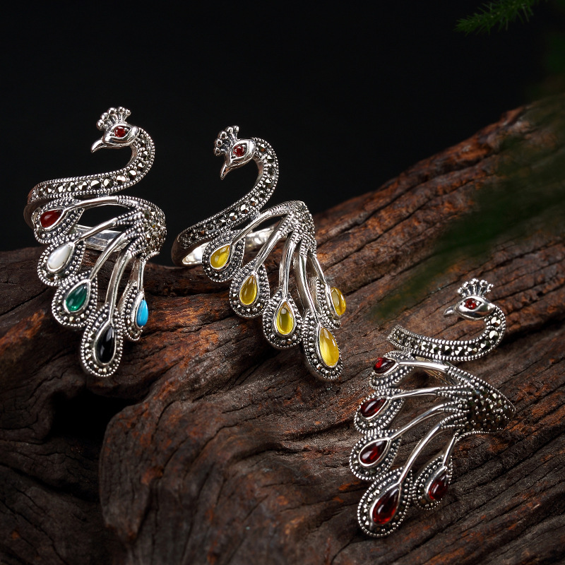 Luxury 100% genuine 925 Sterling Silver Rings For Women Retro vintage peacock S925 silver adjustable open ring jewelry for lady цена 2017