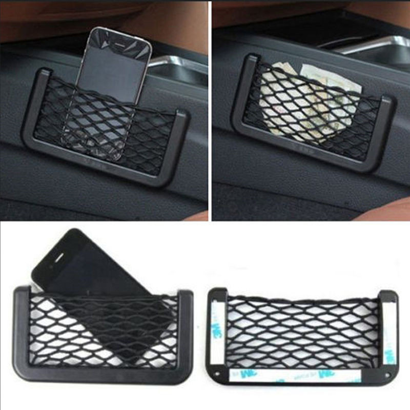 Black Auto Car Storage Net Bag Mesh Resilient String Holder Pocket Organizer Self Adhesive Shelves DROP SHIPPING OK 15*8 image