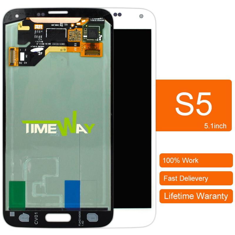 Prix pour DHL 1 pcs D'origine Pour Samsung S5 I9600 Lcd Écran Avec Écran Tactile Digitizer Assemblée Blanc Bleu
