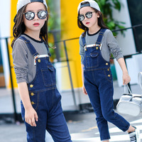 new teenage girls jumpsuits denim girls clothes kids waterproof trousers for 12 year dark blue overalls causal children clothing