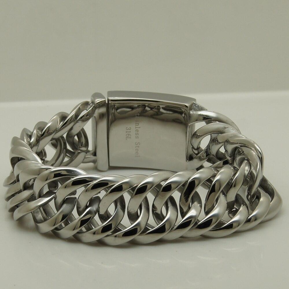 2.20cm(0.86 inch) width classic shiny link men/boy 316L stainless steel classic link chain bracelet perpetuum shiny 22 22 22