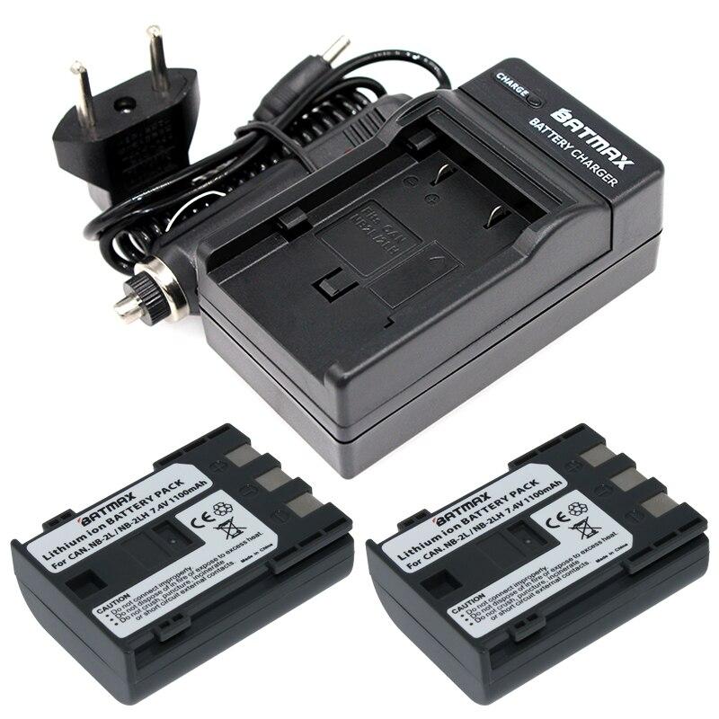 2 Pcs NB-2L NB 2L NB2L NB-2LH BP-2L5 1100 mAh Rechargeable Li-ion Batterie et chargeur pour appareil photo CANON 350D 400D G7 G9 S30 S40 z1