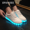 Spansee moda usb led light up shoes luminous glowing shoes basket formadores tênis feminino com chinelos de sola de luz led