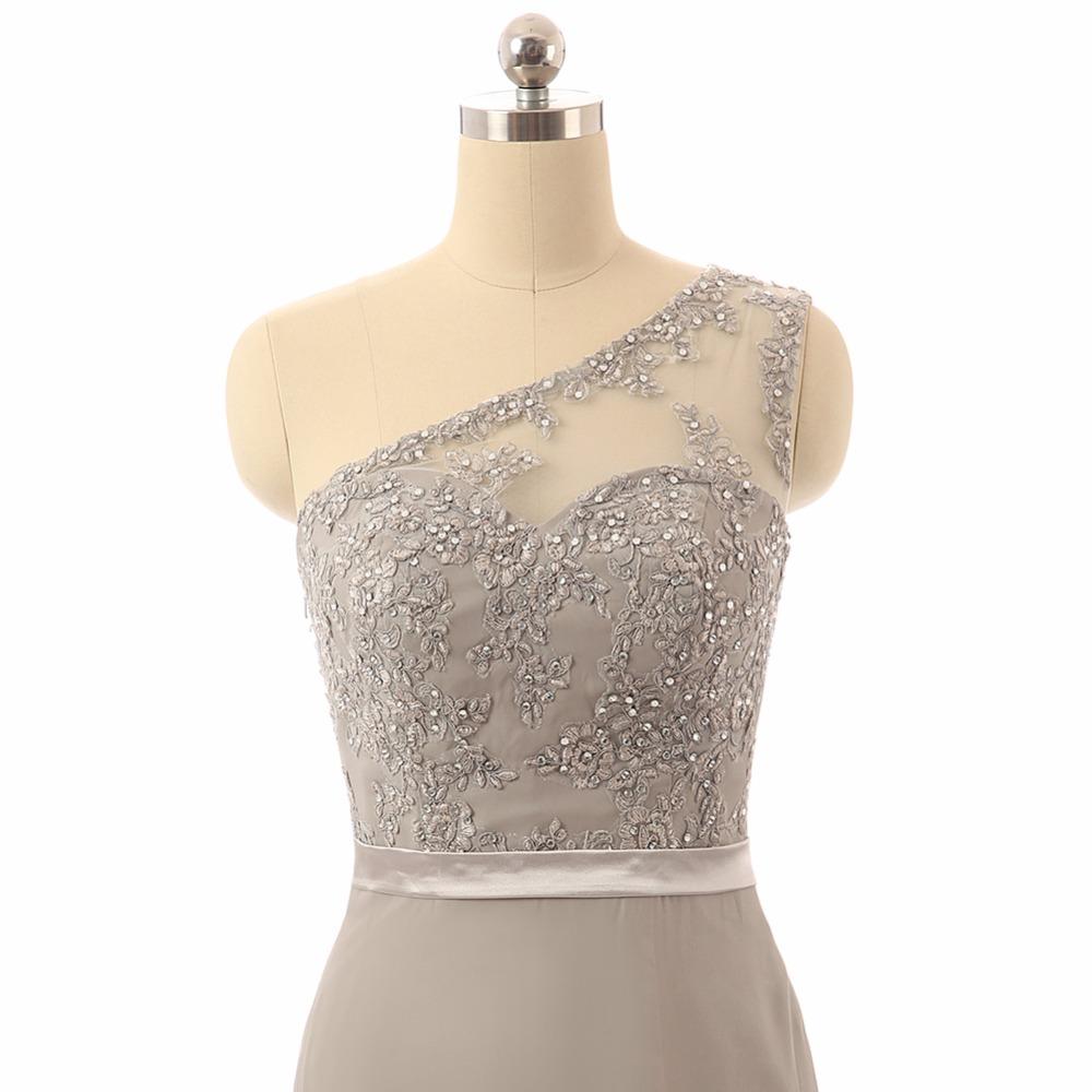 Silver Chiffon Beaded Lace Mermaid Bridesmaid Dress