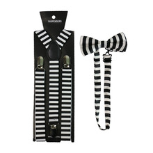HUOBAO Black White Striped Print Suspenders Bowtie Set Clip-on Elastic Y-Shape Back Braces For Women Men