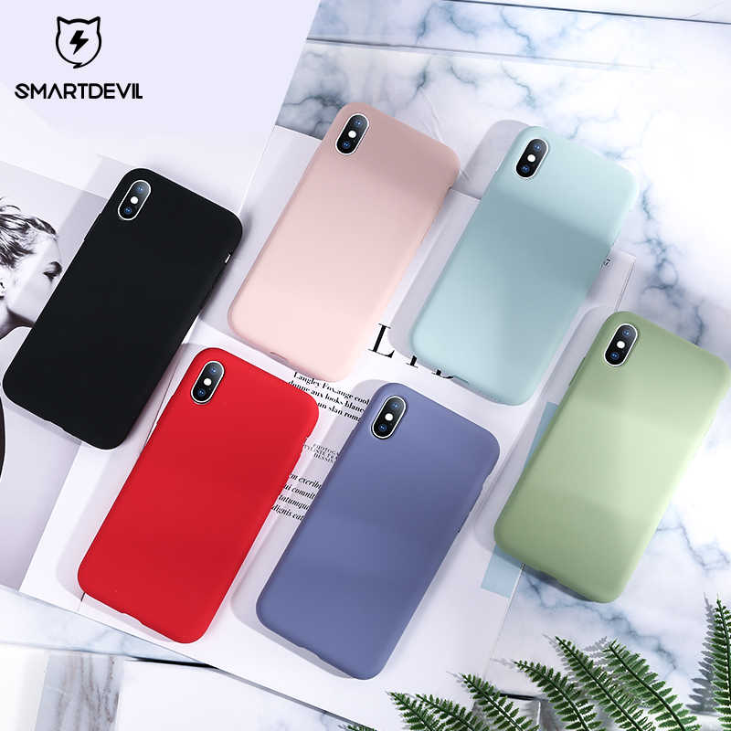 Funda de teléfono de silicona de Color sólido SmartDevil para iphone 7 8 Plus XR X XS Max parejas lindo Color caramelo suave Simple casos de moda