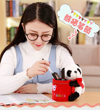 15cm Stuffed animals toys Multi-function plush toy panda Desktop Box Case Make up Cosmetic Holder Desk Pen Pencil Organizer kid(China)