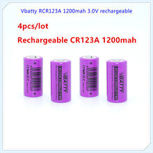 4pcs 16340 rechargeable battery RCR123A 3.7V 1200mah li ion battery for camera/t