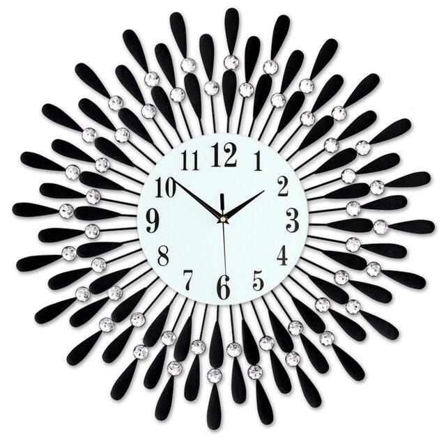 Duża 3d kryształ cichy, ścienny zegar nowoczesny europejski duży luksusowy zegar ścienny projektant diament Wandklok zegar Home Decoration 50w064
