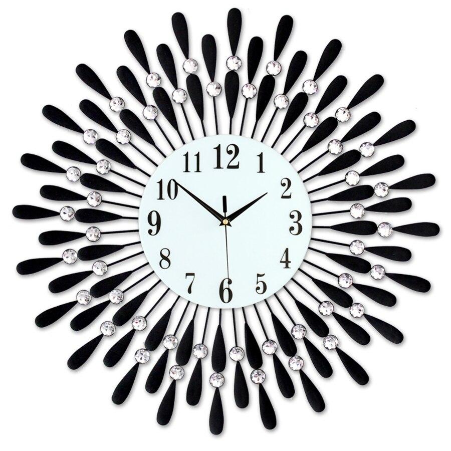 Large 3d Crystal Silent Wall Clock Modern European Big Luxury Wall Clock Designer Diamond Wandklok Clock Home Decoration 50w064(China)