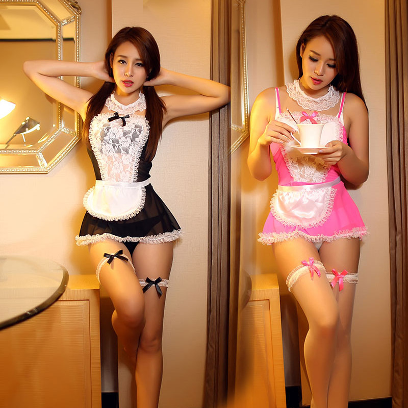 High Quality Maid Uniform Costumes Role Play 2017 Women Sexy Lingerie Hot Sexy Underwear Lovely Female White Lace Erotic Costume